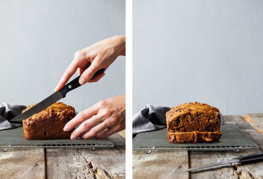 side by side images of two holds holding a knife cutting into rosemary bread, and a second image of a straight on view of rosemary bread with a slice cut off.