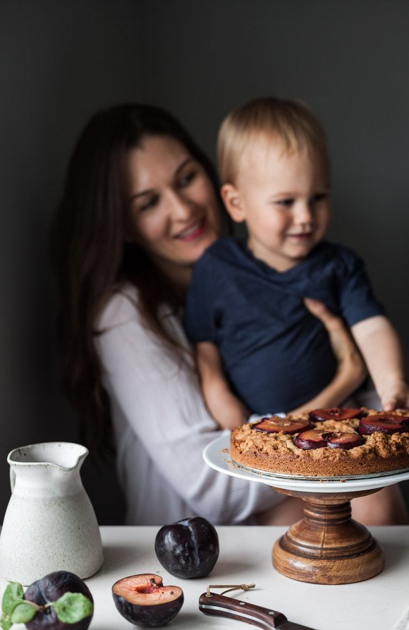 a head on image of Heidi Richter with her son.