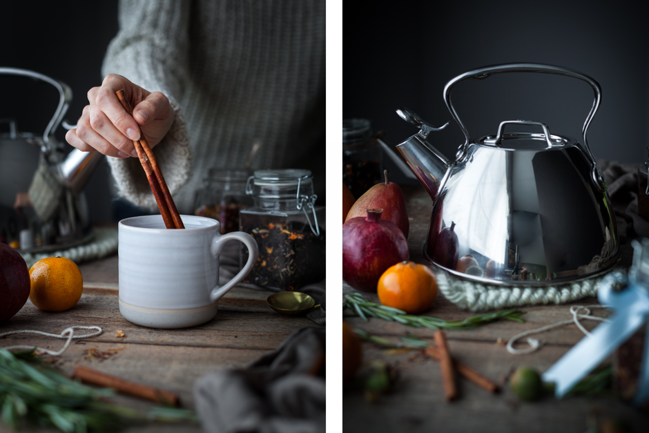 double image of a person placing cinnamon stick into a mug of tea. A second image of a stainless steel tea kettle.