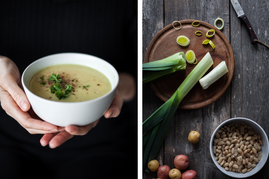 Leek Potato White Bean Soup- The Simple Green