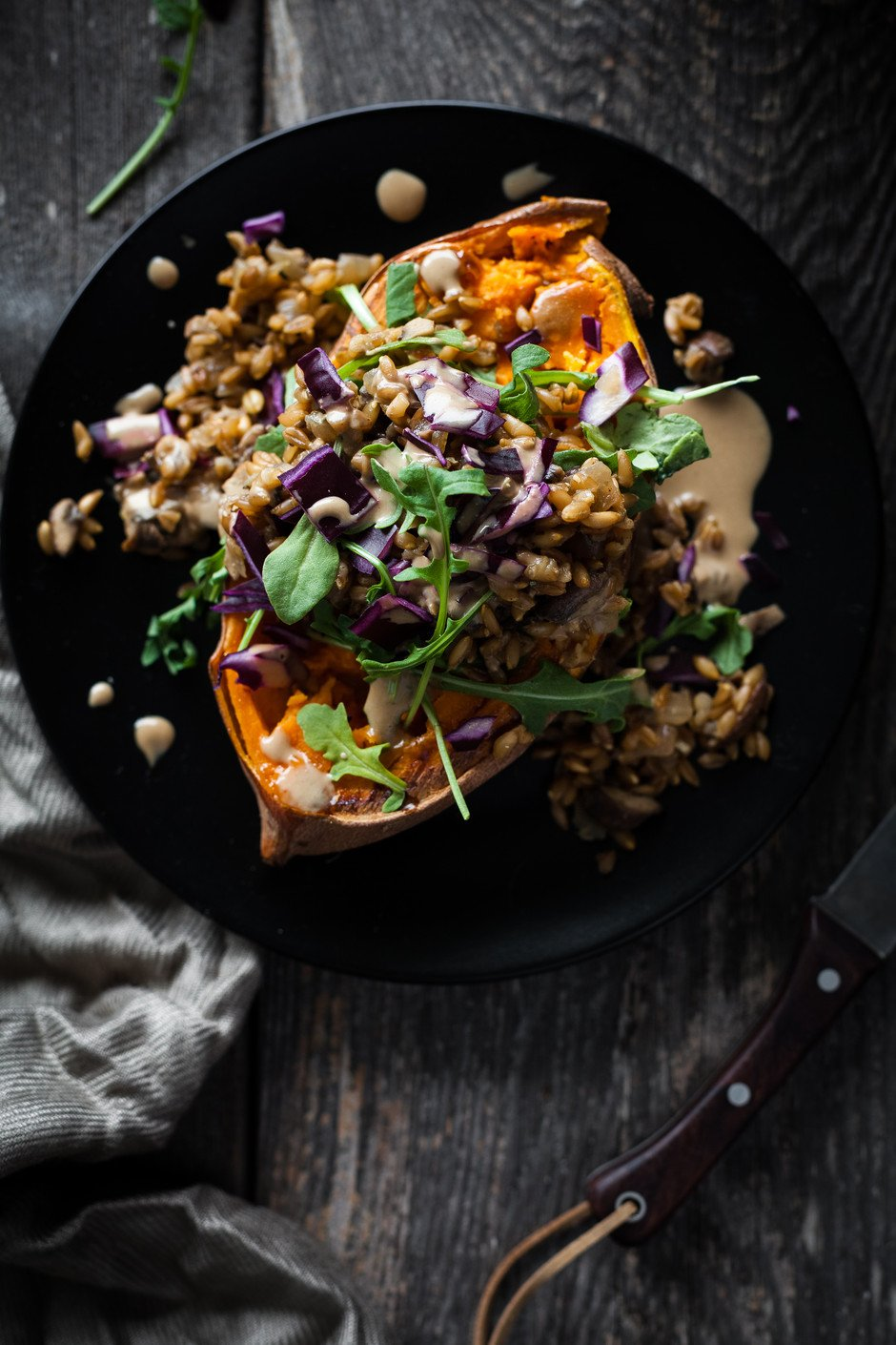 Mushroom Farro Sweet Potato- The Simple Green