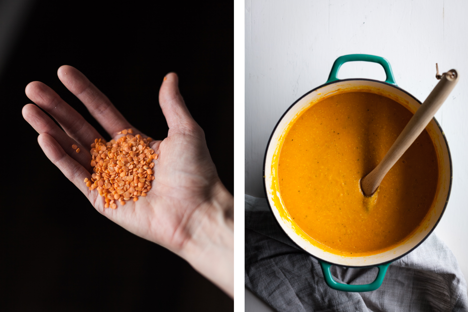 a side by side image of a hand holding red lentils and another image of a soup pot with a spoon resting in it.
