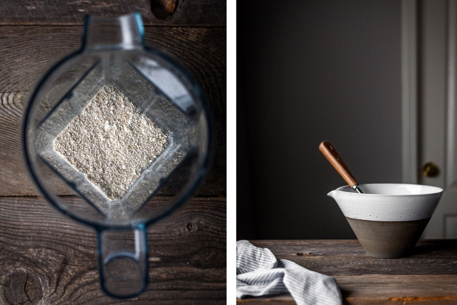 a double image of an overhead shot inside a vitamix container and another image of a ceramic bowl with a whisk.