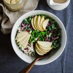 Crunchy Apple Kale Slaw w Balsamic Tahini Dress