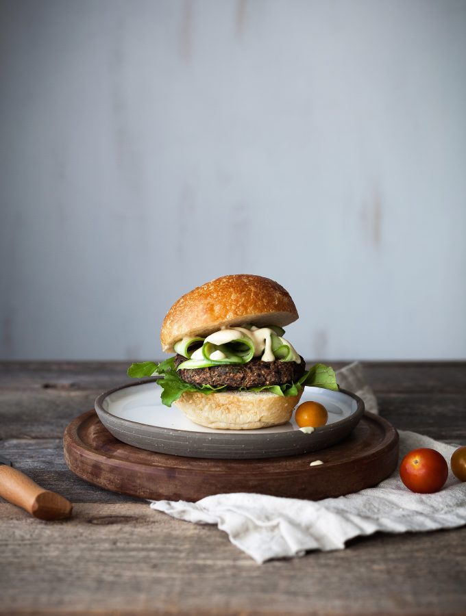 smokey black bean and quinoa burgers w maple dijon sauce