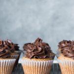 Vegan Vanilla Cupcakes w Choc lavender frosting