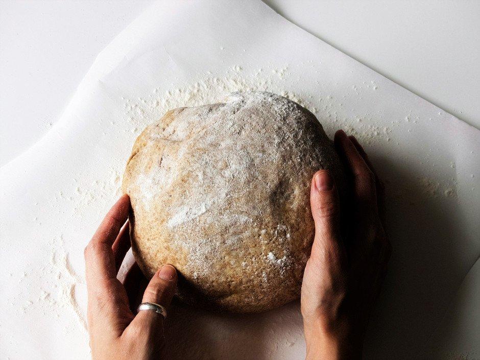 overhead image of a bread dough ball.