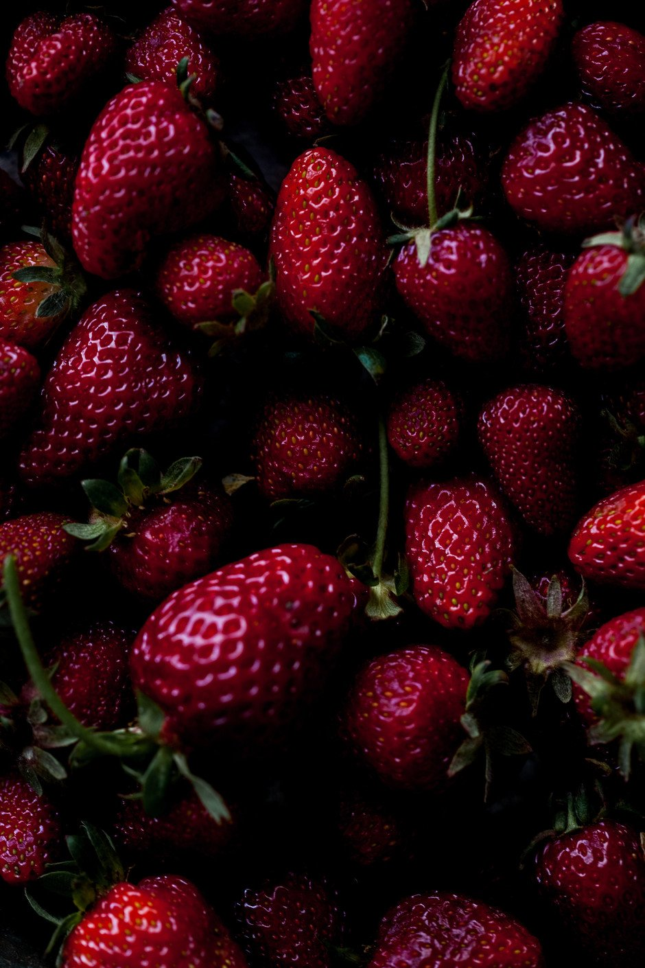 overhead closeup view of fresh strawberries.