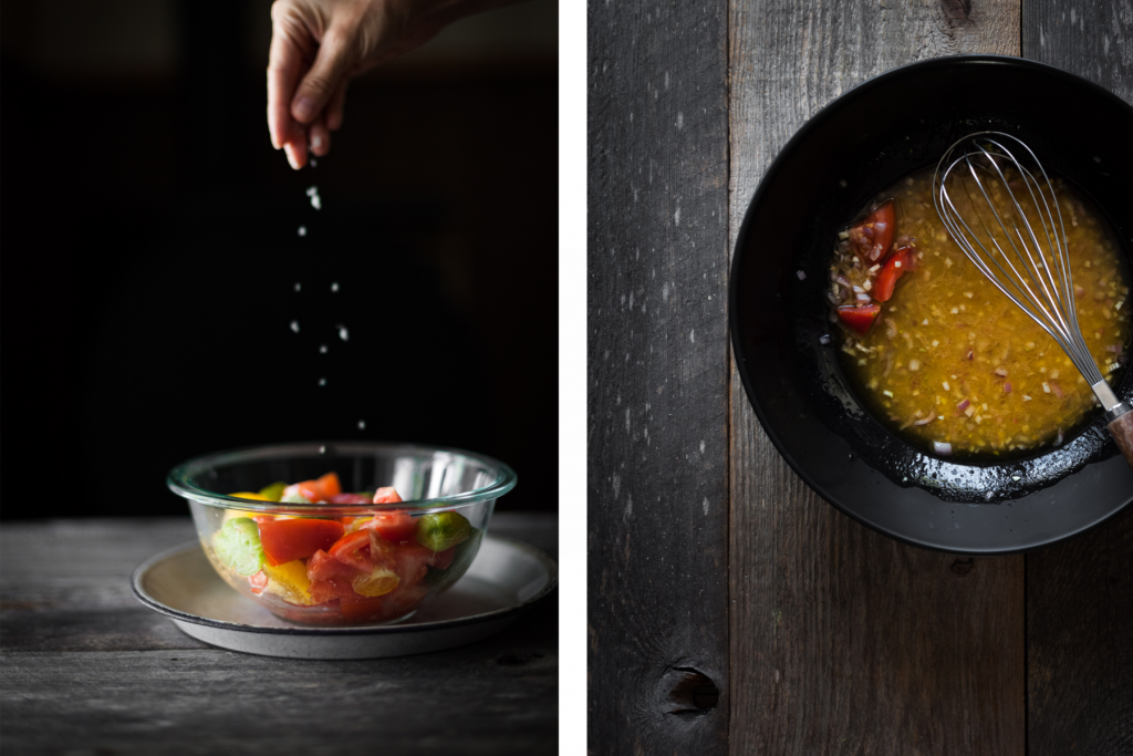 LEFT: a hand sprinkling salt on a bowl of tomatoes. RIGHT: overhead view of vinaigrette in a bowl with a whisk.