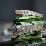 close up portrait of a green goddes sandwich.