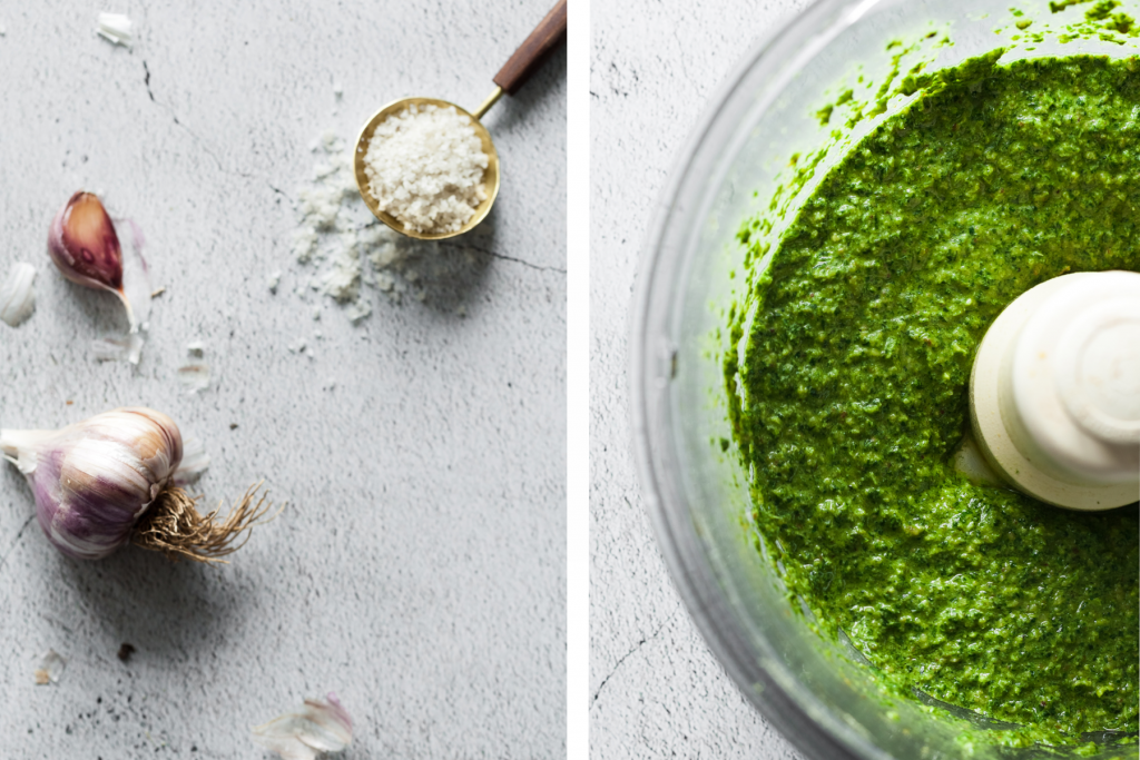 a double image of garlic and salt on the left and processed pesto in a food processor on the right image.