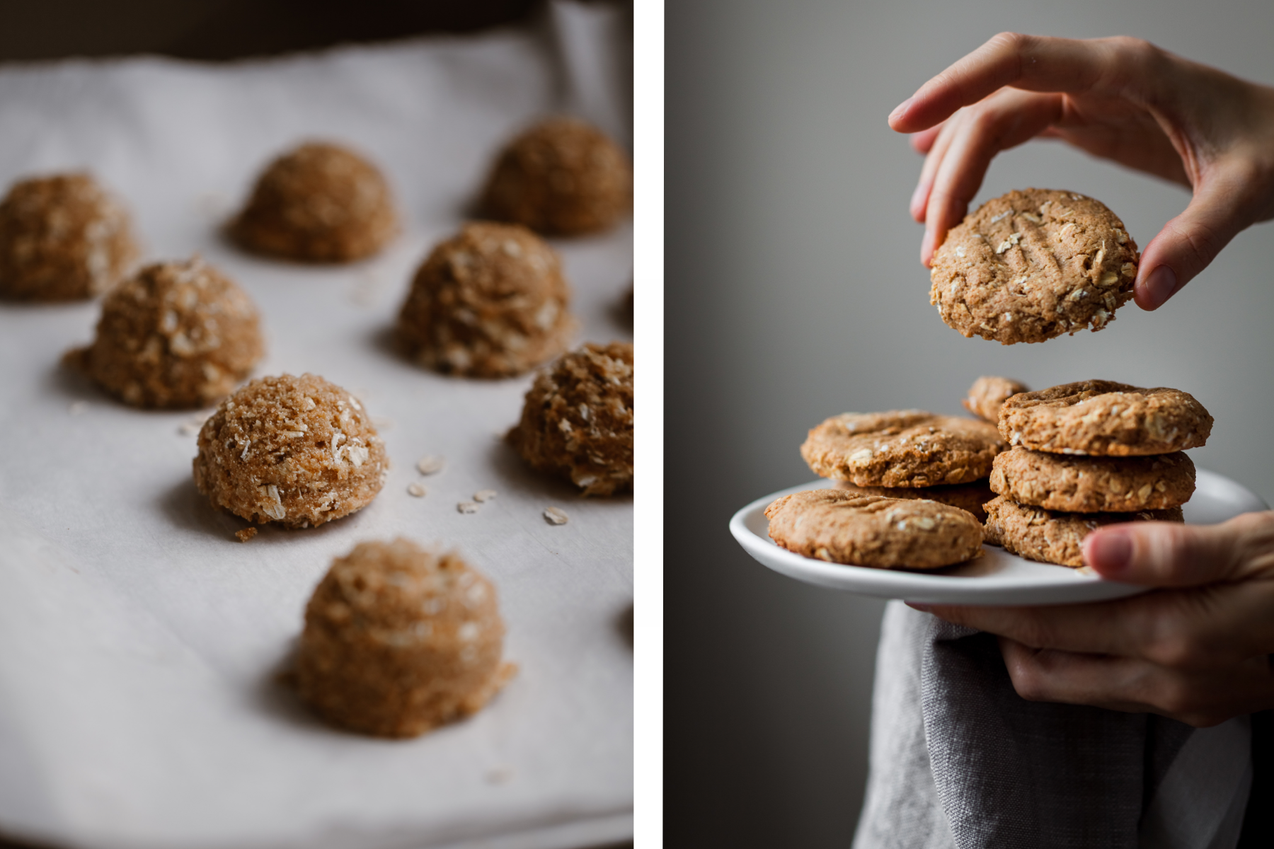 a double image of unbaked cookies balls on a baking tray, and baked cookies on a plate with a hand holding one cookie.