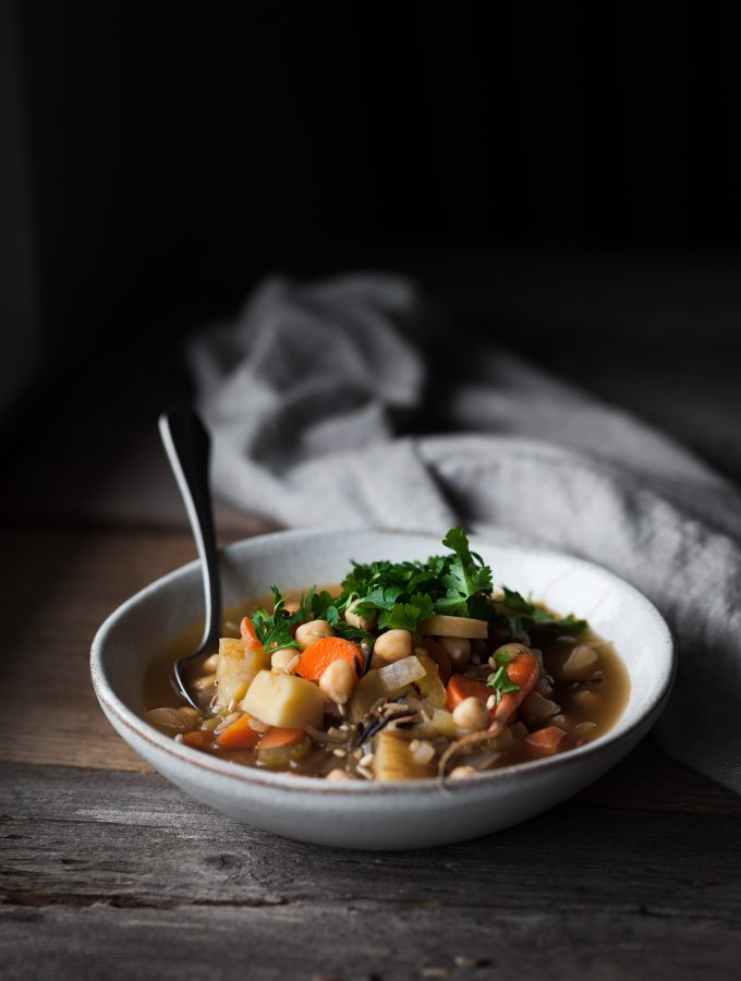 Winter Vegetable Soup with Chickpeas and Wild Rice