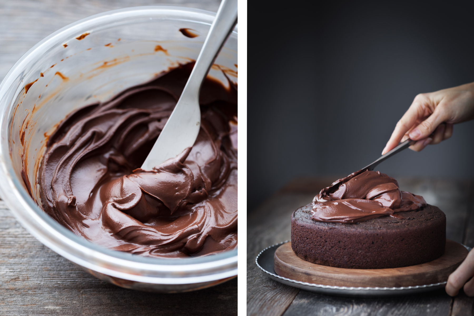 a side by side image of a bowl of chocllate ganache with a spreading knife and a second image of a baker frosting a chocolate cake with ganache.
