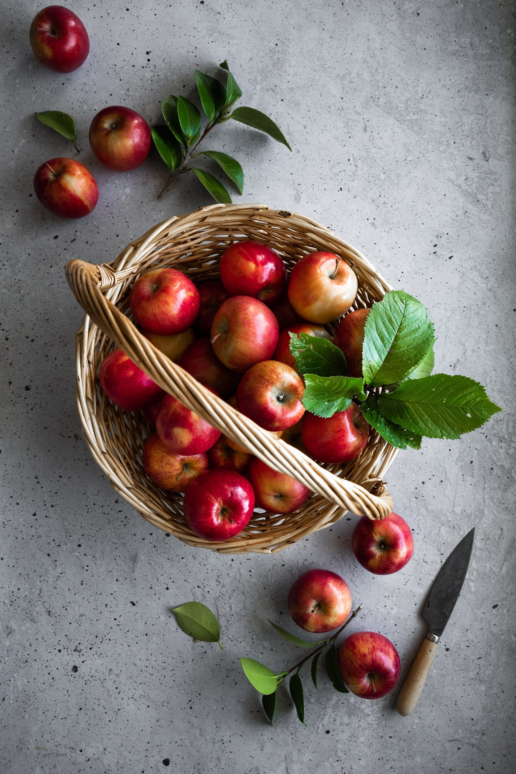 overhead image of a basket of red apples with leaves on a grey surface.