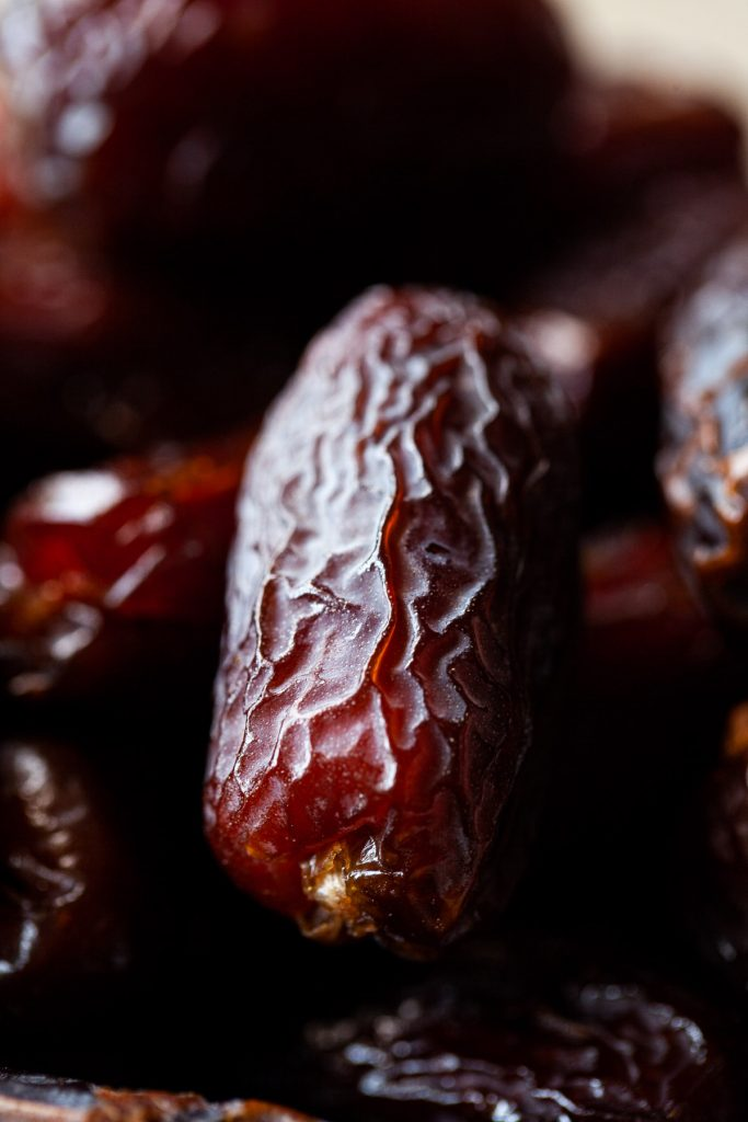 Close up view of a medjool date.