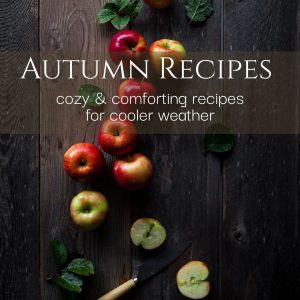 """overhead view of apples and a knife with text """"autumn recipes cozy and comforting recipes for cooler weather"""""""